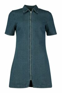 Womens Zip Through Denim Dress - blue - 10, Blue