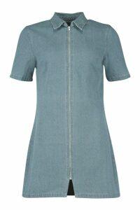 Womens Zip Through Denim Dress - Blue - 12, Blue