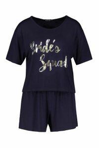 Womens Brides Squad T-Shirt & Short Set - navy - 20, Navy