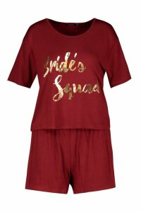 Womens Brides Squad T-Shirt & Short Set - red - 20, Red