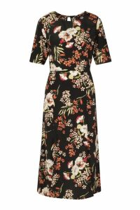 Womens Woven Floral Print Crew Neck Midi Dress - black - M, Black