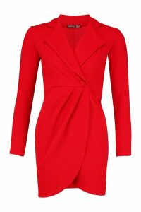 Womens Wrap Front Blazer Dress - red - 14, Red