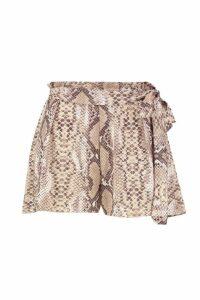 Womens Tonal Snake Tie Waist Shorts - Beige - 16, Beige