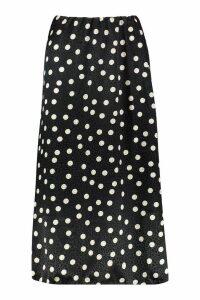 Womens Jacquard Satin Polka Dot Slip Midi Skirt - black - 16, Black