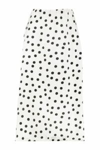 Womens Jacquard Satin Polka Dot Slip Midi Skirt - white - 16, White