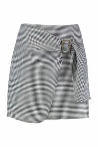 Womens Dogtooth Wrap Front Buckle Detail Skirt - black - 14, Black