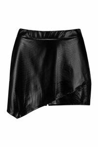 Womens PU Croc Wrap Short - black - 16, Black