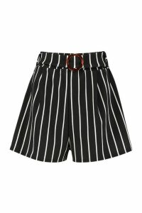 Womens O-Ring Belted Stripe Shorts - black - 14, Black