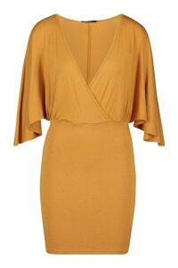Womens Jersey Wrap Cape Mini Dress - yellow - 14, Yellow