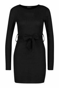 Womens Rib Belted Buckle Mini Dress - black - 14, Black