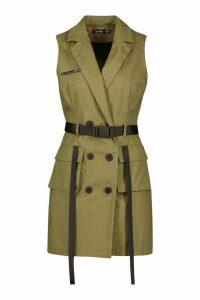 Womens Sleeveless Belted Blazer Dress - green - 10, Green