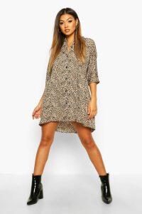 Womens Leopard Button Through 3/4 Sleeve Smock Dress - beige - 16, Beige