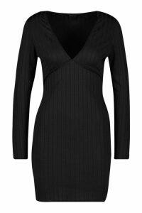 Womens Ribbed Plunge Mini Bodycon Long Sleeve - black - 14, Black