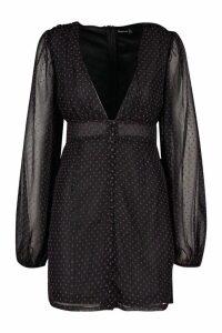 Womens Polka Dot Chiffon Button Through Dress - black - 16, Black