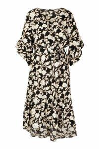 Womens Floral Print Wrap Tie Waist Midi Dress - black - 16, Black
