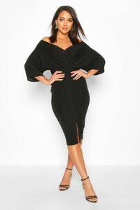 Womens Slinky Off Shoulder Twist Midi Dress - black - 14, Black