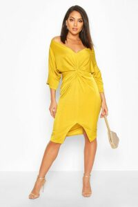 Womens Slinky Off Shoulder Twist Midi Dress - yellow - 10, Yellow