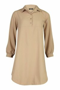 Womens Half Way Button Through Oversized Shirt Dress - beige - 14, Beige