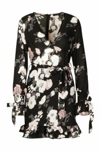 Womens Floral Print Plunge Ribbon Tie Mini Dress - black - 14, Black