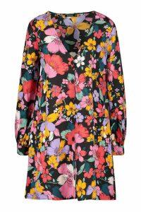 Womens Retro Floral Button Detail Shift Dress - black - 16, Black