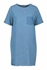 Womens Slouch Pocket Denim Dress - Blue - 16, Blue