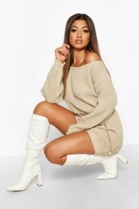 Womens Slash Neck Marl Knit Jumper Dress - beige - M/L, Beige