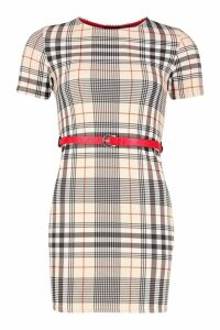 Womens Check Shift Dress With Patent Belt - beige - 14, Beige