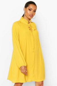 Womens Pussy Bow Pleated Shift Dress - yellow - 16, Yellow