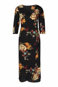 Womens Woven Floral Print 3/4 Sleeve Wrap Midi Dress - navy - M, Navy