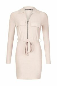 Womens Suede Belted Utility Mini Dress - beige - 16, Beige