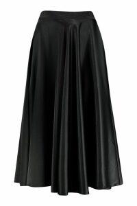 Womens Satin Full Midi Skirt - black - 16, Black