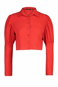 Womens Volume Sleeve Shirt - red - 14, Red