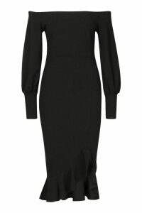 Womens Bardot Balloon Sleeve Ruffle Midi Dress - black - 16, Black