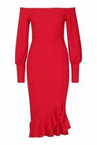 Womens Bardot Balloon Sleeve Ruffle Midi Dress - red - 14, Red