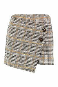 Womens Check Skort With Buttons - brown - 14, Brown