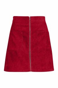 Womens Zip Through Pocket Front Cord Mini Skirt - red - 16, Red