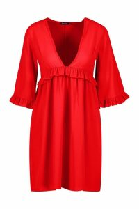 Womens Woven Ruffle Detail Smock Dress - red - 16, Red