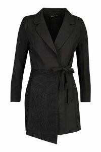 Womens Wrap Front Lace Detail Blazer Dress - black - 14, Black
