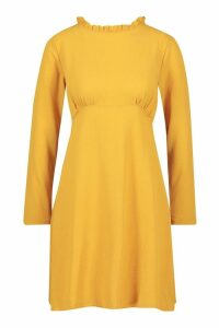 Womens High Neck Smock Dress - yellow - 14, Yellow