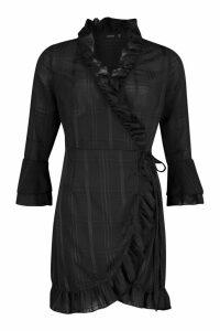 Womens Woven Check Wrap Frill Tea Dress - black - 14, Black