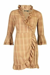 Womens Woven Check Wrap Frill Tea Dress - brown - 14, Brown