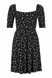 Womens Ditsy Print Puff Sleeve Jersey Skater Dress - black - 10, Black
