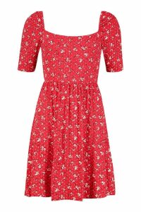 Womens Ditsy Print Puff Sleeve Jersey Skater Dress - red - 10, Red