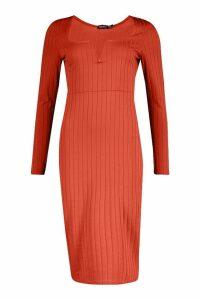 Womens Long Sleeve V Front Ribbed Midi Dress - orange - 16, Orange