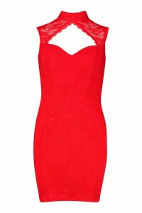 Womens High Neck Cap Sleeve Lace Mini Dress - red - 10, Red