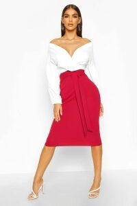 Womens Contrast Off Shoulder Wrap Midi Dress - red - 14, Red