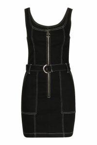 Womens Contrast Stitch Belted Denim Bodycon Dress - black - 16, Black