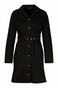 Womens Woven Tortoise Shell Buckle Belt Shirt Dress - black - 16, Black