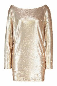 Womens Slouch Sequin Mini Dress - Pink - 14, Pink