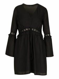 Womens Lace Trim Flared Sleeve Skater Dress - black - 16, Black